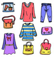 doodle of clothes set for women vector image