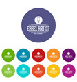 easel artist icons set color vector image vector image