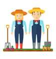 farmer man and a woman characters on profession vector image vector image