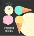 Few ice cream scoops on a dark background vector image