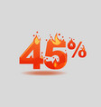 forty five percent discount numbers on fire vector image vector image