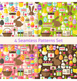 Four Flat Happy Easter Holiday Seamless Patterns vector image vector image