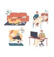 freelance people work at home freelancer vector image