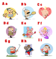 Funny Cartoon Alphabet Collection 1 vector image vector image