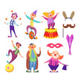 funny clowns characters and different circus vector image vector image