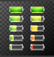 Glossy battery icons with different charge level vector image vector image