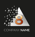 golden number eight logo in silver pixel triangle vector image