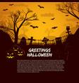 halloween poster with gravestones vector image vector image