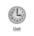 hand drawn clock on white background vector image