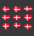 hearts with the denmark flag i love the denmark vector image
