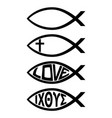 ichthus christian fish symbol religious icon vector image