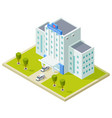 isometric hospital building and ambulance cars vector image vector image