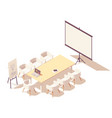 isometric office meeting room interior vector image vector image