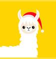 llama alpaca baby face santa hat merry christmas vector image vector image
