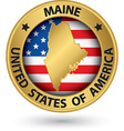 Maine state gold label with state map vector image
