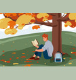 man reading book background male character vector image vector image