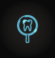 neon tooth medical research icon in line style vector image vector image