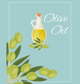 olive oil pitcher with green olives and leaves vector image vector image