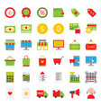 online shopping icon set flat style vector image vector image
