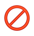Red sign ban icon cartoon style vector image