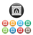 retro fireplace icons set color vector image vector image