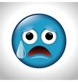sad and anguish face emoticon vector image