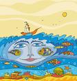 Sea Underwater Fantasy Face vector image vector image
