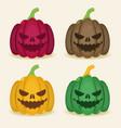set of halloween colored pumpkins vector image vector image