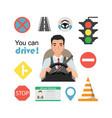 set of road symbols and asian man driver character vector image vector image