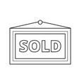 sold placard line icon vector image vector image