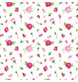 summer floral seamless pattern with pink roses vector image
