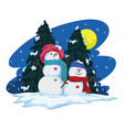 two snowmen and christmas tree vector image vector image