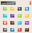Valentine day bookmark icons vector image