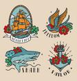 vintage colorful marine labels vector image vector image