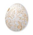 white easter egg with gold handmade ornament vector image