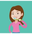 Woman brushing her teeth vector image vector image