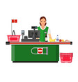 woman cashier smiles buyer near the cash register vector image