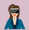woman wearing virtual reality headset vector image vector image