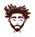 young afro man ethnicity with beard silhouette