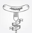 Sausage menu doodle drawn background vintage vector image
