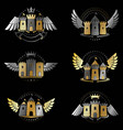 ancient bastions emblems set heraldic design vector image vector image