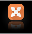arrows icon orange sign with reflection on black