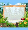 border template with forest in background vector image vector image