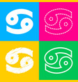 cancer sign four styles of icon on vector image