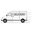 cartoon of driver of generic van with delivery vector image vector image