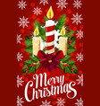 christmas candle banner with snowflake xmas light vector image vector image