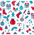 christmas seamless pattern with many winter doodle vector image vector image
