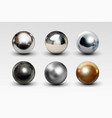 chrome ball set realistic isolated on white vector image vector image