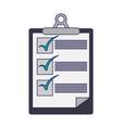 clipboard checklist document symbol blue lines vector image vector image