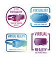 color futuristic helmet virtual reality headset vector image vector image